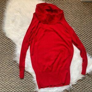 The Limited Red Cold Shoulder Turtleneck Sweater